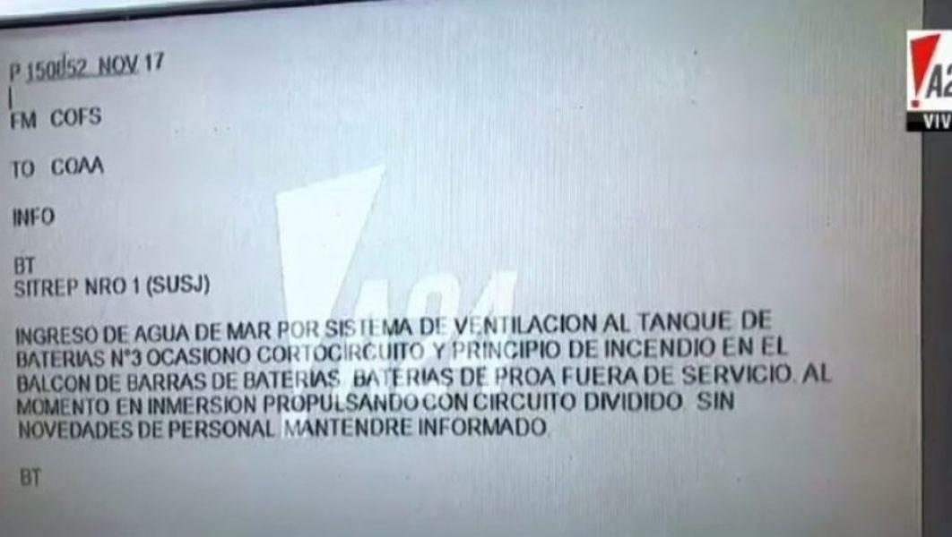 El mensaje tiene fecha del 15 de noviembre, según informó A24