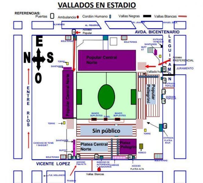El mapa de los ingresos y ubicaciones de los simpatizantes de Pellegrini y Central Norte, de cara a la semifinal de ida, mañana en el Gigante.