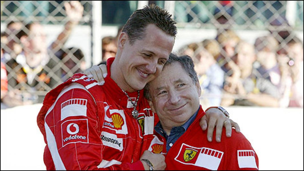 """""""Schumi"""" junto a Todt. Sentidas palabras del titular de la FIA."""
