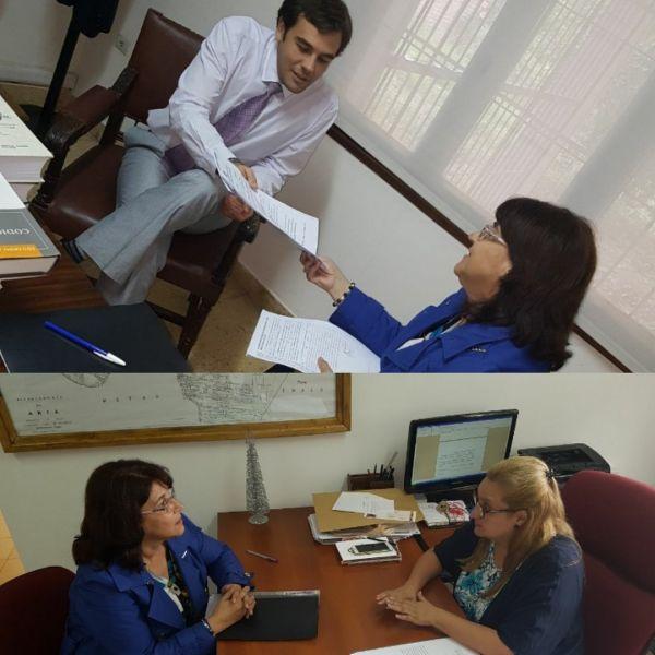 María Miranda vicepresidenta del Observatorio de Violencia contra la Mujer se reunió con jueces en J.V. González.
