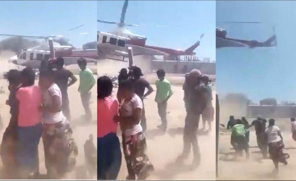 El video donde se ve como dejan comida desde un helicóptero de la Provincia, tuvo difusión nacional ayer y causó indignación.
