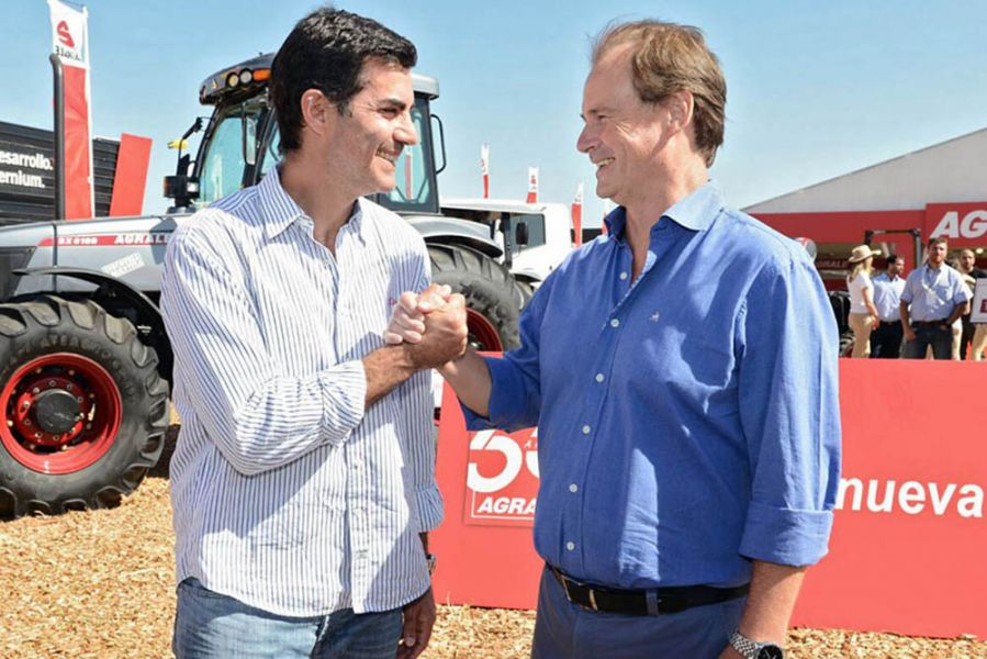 Urtubey junto al gobernador de Entre Ríos, Gustavo Bordet en la Expoagro 2018 que se realiza en San Nicolás, provincia de Buenos Aires.