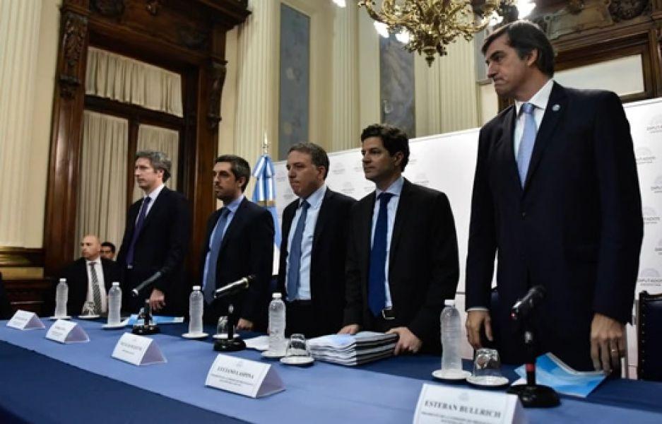 Bausili, Pena, Dujovne, Laspina y Bullrich, en la comisión de Presupuesto de Diputados.