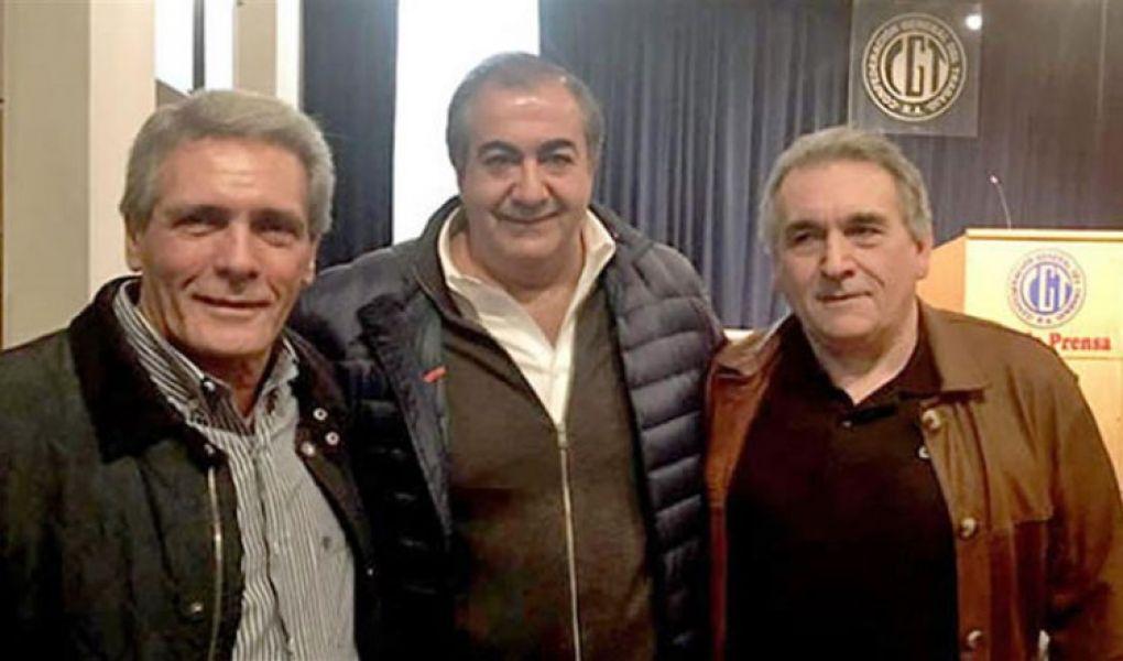 El triunvirato de secretarios generales de la CGT, Juan Carlos Schmid, Héctor Daer y Carlos Acuña.