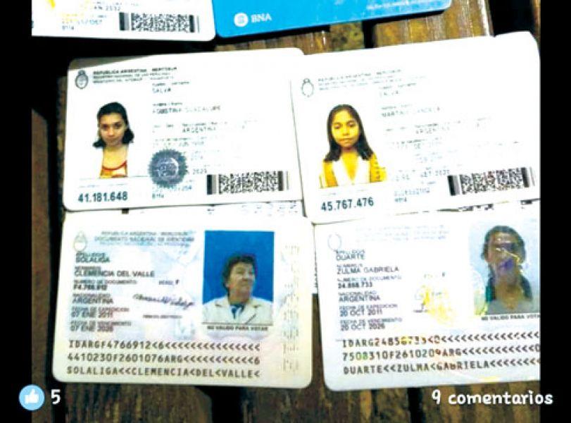 Facsímiles de los DNI de una familia de Metán encontrados por un ciudadano chileno que se comunicó con Nuevo Diario.