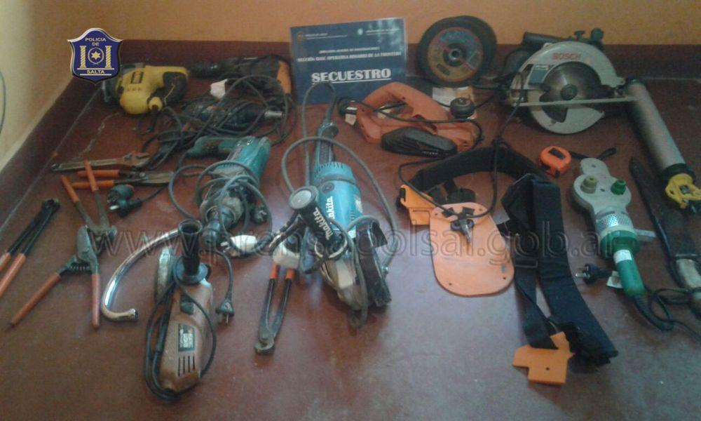 Elementos recuperados a la banda delictiva de Rosario de la Frontera.