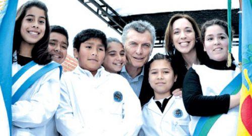El presidente Mauricio Macri junto a la gobernadora bonaerense, Eugenia Vidal.