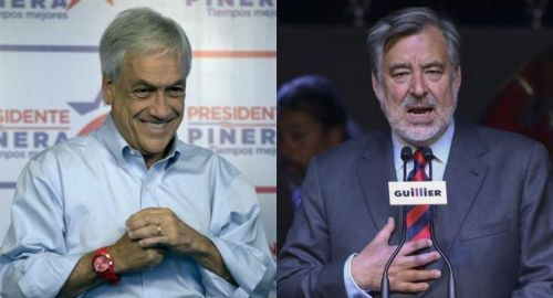 Sebastián Piñera y Alejandro Guillier, los dos candidatos más votados en las elecciones presidenciales en Chile.