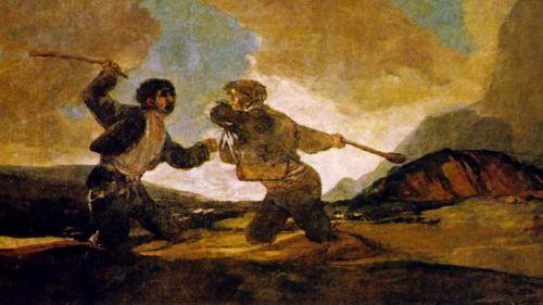 """Ilustración """"Duelo a garrotazos"""" (Goya)"""
