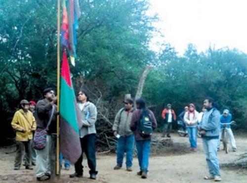 """Ceremonia de representación del Congreso de Pueblos Originarios de la comunidad guaraní """"Happo Puau"""", en Misión Chaqueña."""