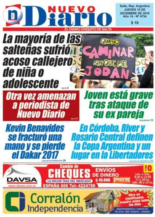 Tapa del 15/12/2016 Nuevo Diario de Salta