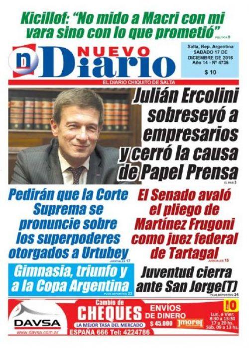 Tapa del 17/12/2016 Nuevo Diario de Salta