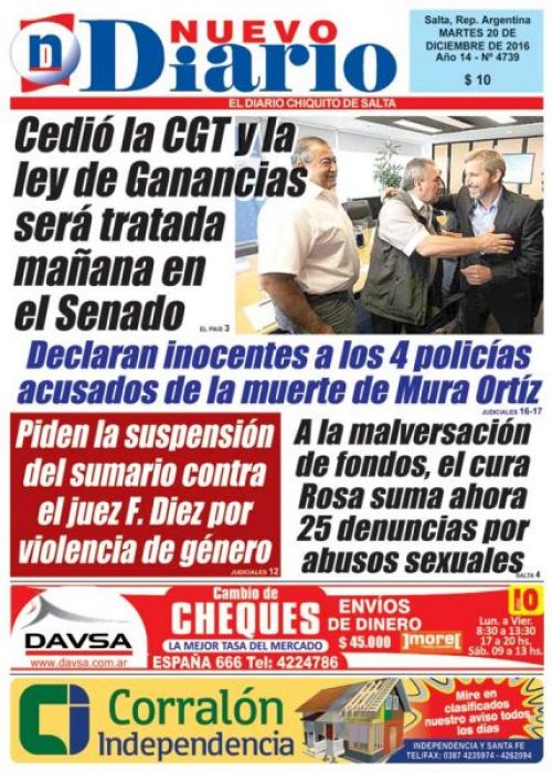 Tapa del 20/12/2016 Nuevo Diario de Salta
