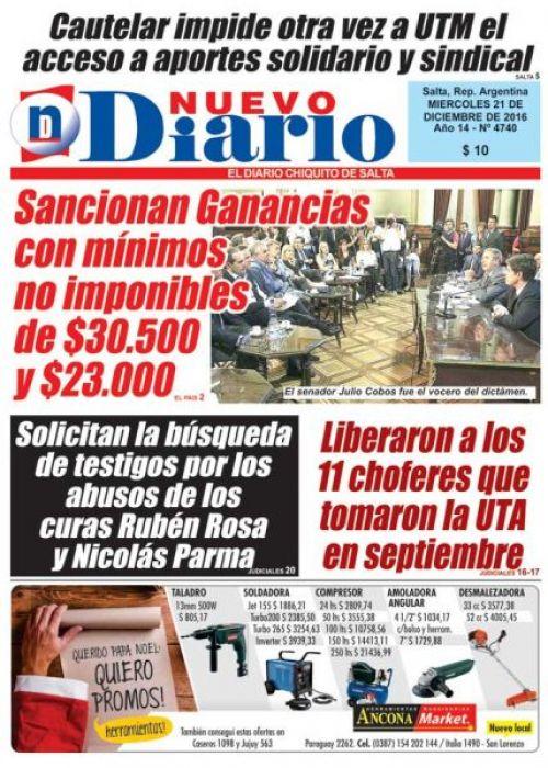 Tapa del 21/12/2016 Nuevo Diario de Salta
