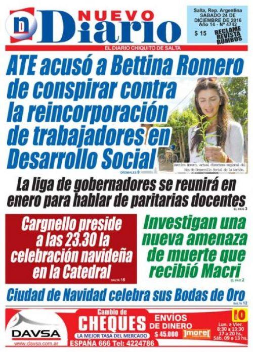 Tapa del 24/12/2016 Nuevo Diario de Salta