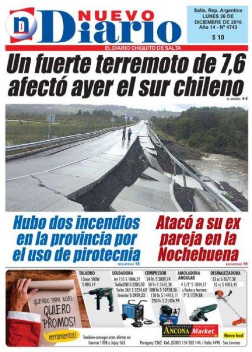 Tapa del 26/12/2016 Nuevo Diario de Salta