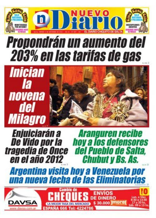 Tapa del 06/09/2016 Nuevo Diario de Salta