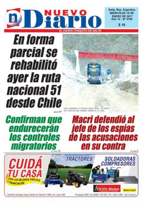 Tapa del 18/01/2017 Nuevo Diario de Salta