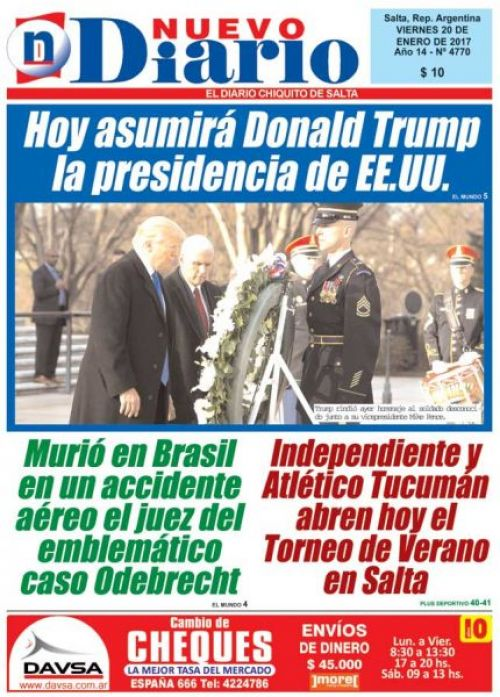 Tapa del 20/01/2017 Nuevo Diario de Salta