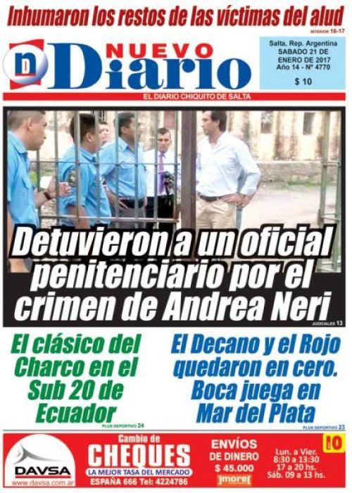 Tapa del 21/01/2017 Nuevo Diario de Salta