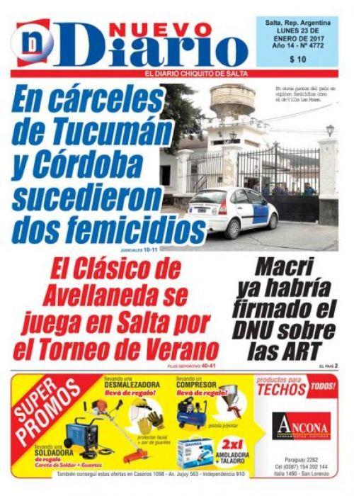 Tapa del 23/01/2017 Nuevo Diario de Salta