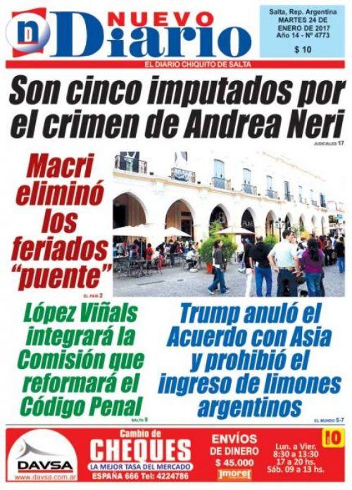 Tapa del 24/01/2017 Nuevo Diario de Salta