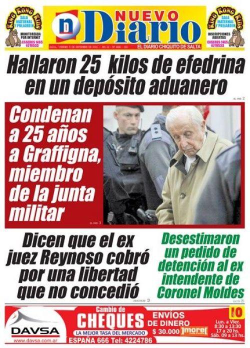 Tapa del 09/09/2016 Nuevo Diario de Salta