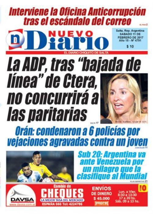 Tapa del 11/02/2017 Nuevo Diario de Salta