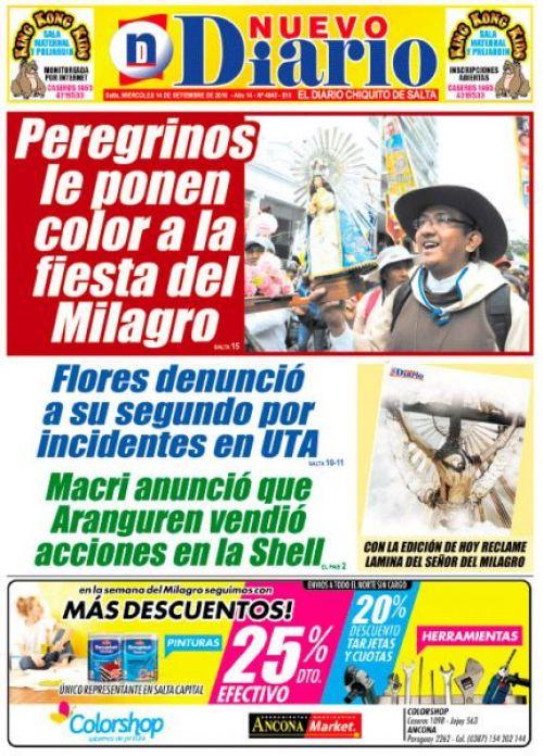 Tapa del 14/09/2016 Nuevo Diario de Salta