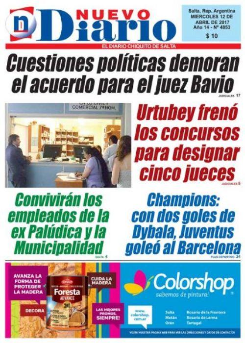 Tapa del 12/04/2017 Nuevo Diario de Salta