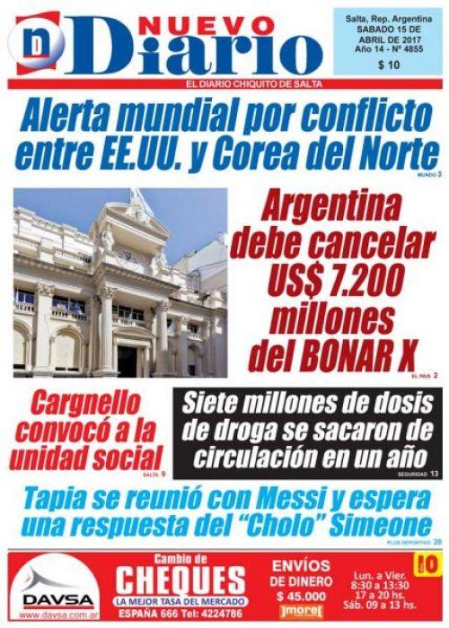 Tapa del 15/04/2017 Nuevo Diario de Salta