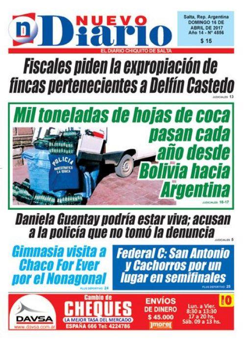 Tapa del 16/04/2017 Nuevo Diario de Salta