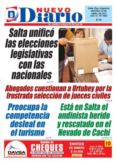 Tapa del 18/04/2017 Nuevo Diario de Salta