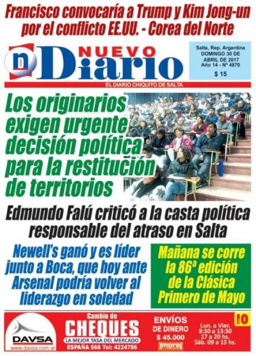 Tapa del 30/04/2017 Nuevo Diario de Salta