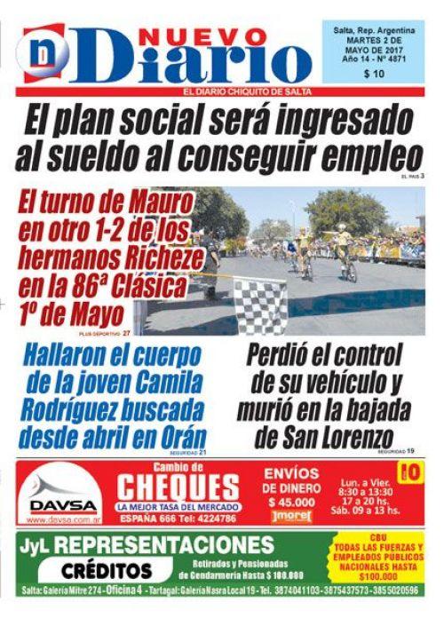 Tapa del 02/05/2017 Nuevo Diario de Salta