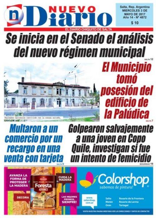 Tapa del 03/05/2017 Nuevo Diario de Salta