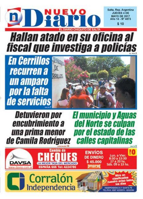 Tapa del 04/05/2017 Nuevo Diario de Salta