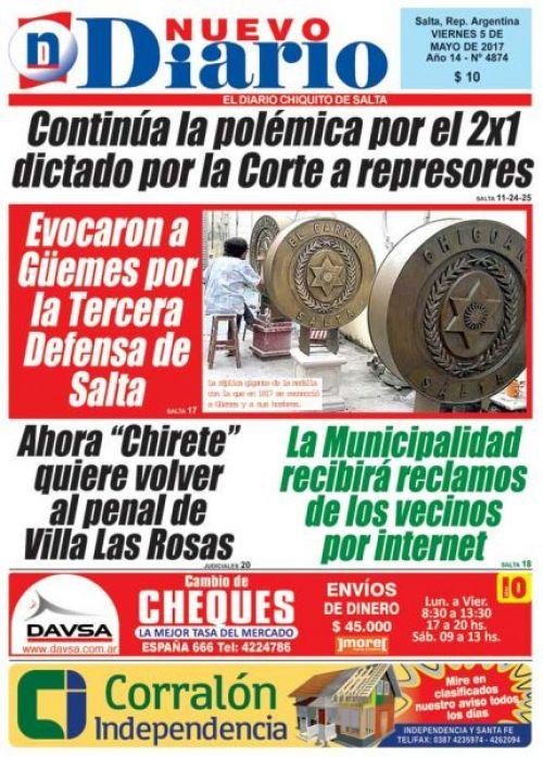 Tapa del 05/05/2017 Nuevo Diario de Salta
