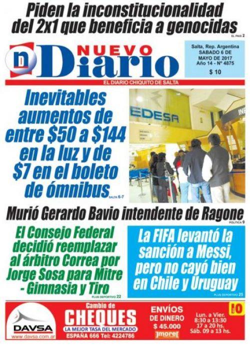 Tapa del 06/05/2017 Nuevo Diario de Salta