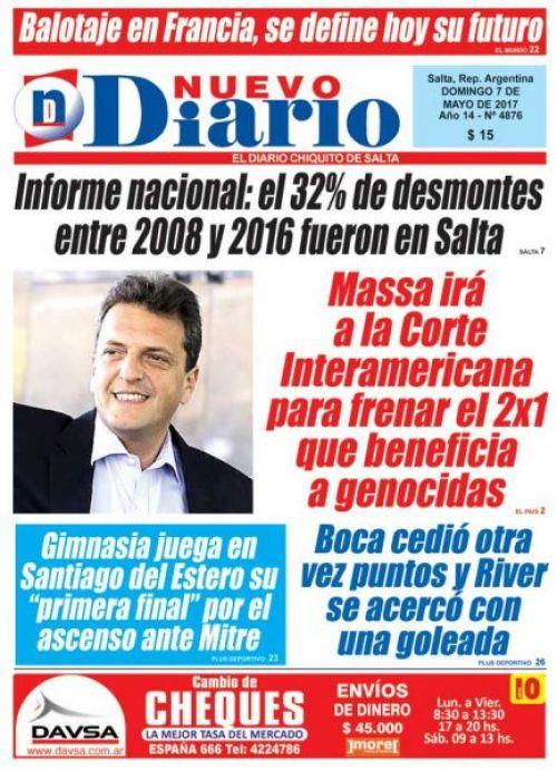 Tapa del 07/05/2017 Nuevo Diario de Salta