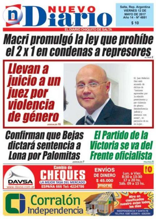 Tapa del 12/05/2017 Nuevo Diario de Salta