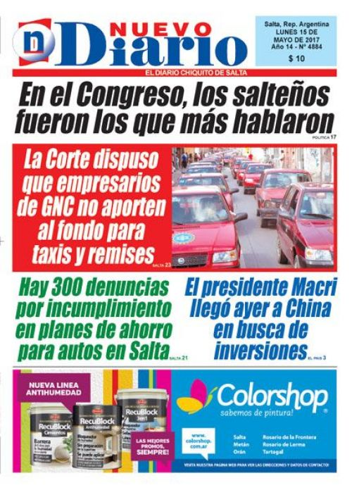 Tapa del 15/05/2017 Nuevo Diario de Salta