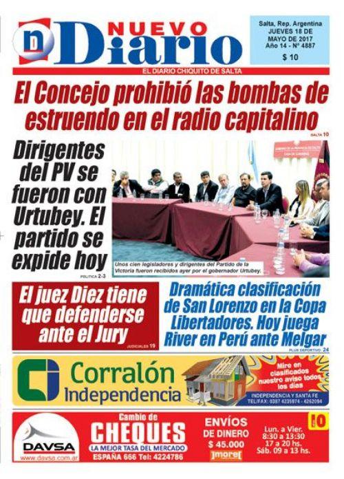 Tapa del 18/05/2017 Nuevo Diario de Salta