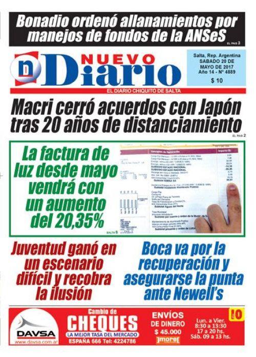 Tapa del 20/05/2017 Nuevo Diario de Salta