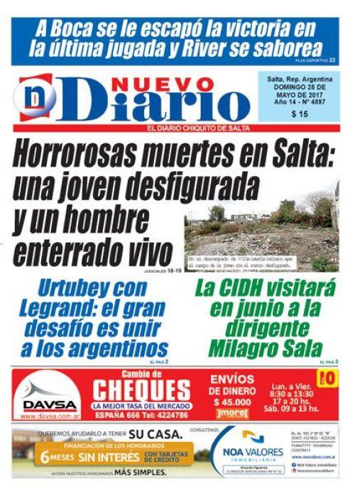 Tapa del 28/05/2017 Nuevo Diario de Salta