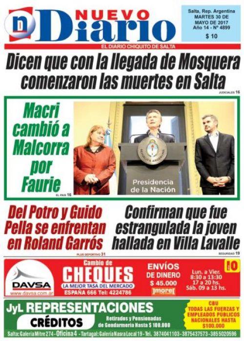 Tapa del 30/05/2017 Nuevo Diario de Salta