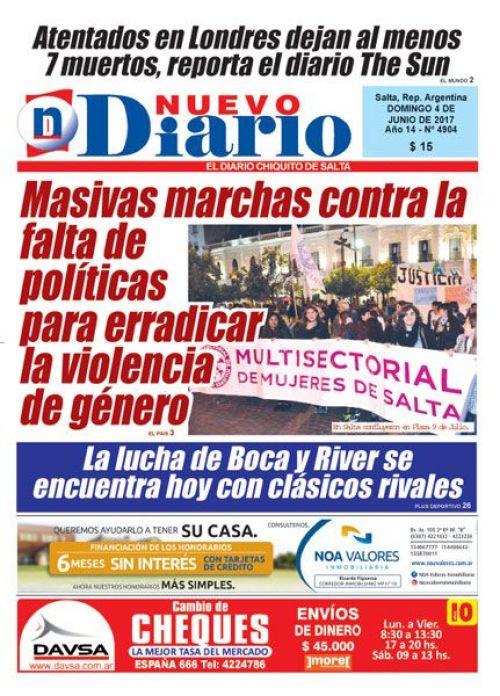 Tapa del 04/06/2017 Nuevo Diario de Salta