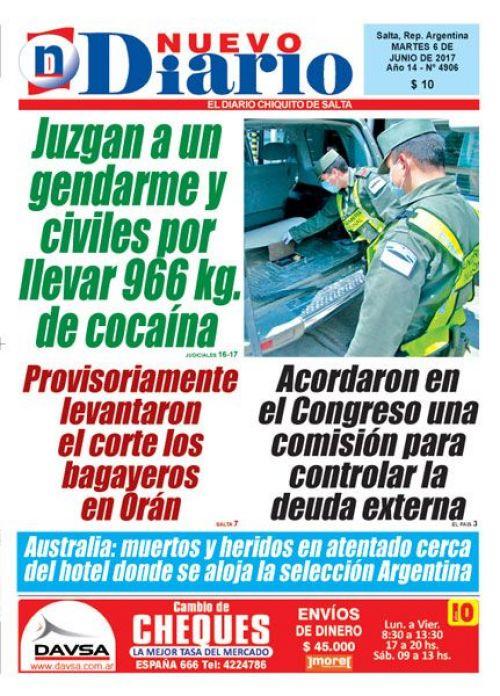 Tapa del 06/06/2017 Nuevo Diario de Salta
