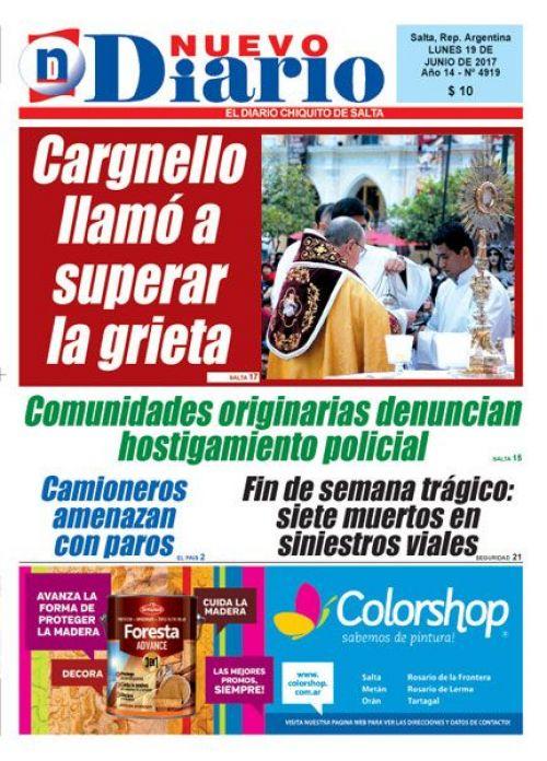 Tapa del 19/06/2017 Nuevo Diario de Salta