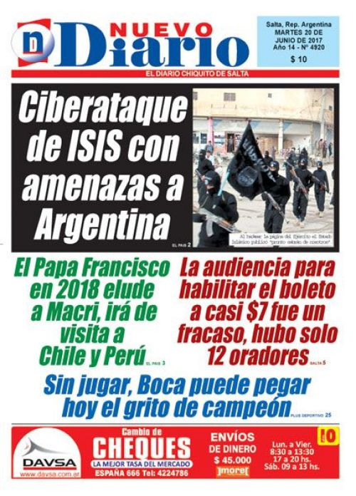 Tapa del 20/06/2017 Nuevo Diario de Salta